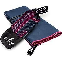 Toalla de Microfibra compacta y de secado rapido con bolsa para viajes - Deporte Piscina Playa Yoga y Gimnasio - Schukaps Fitness - (150x80cm, Azul Marino)