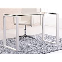 Mesa de estudio benetto XL , cristal transparente y patas blancas, medidas 120 cm x 60 x 75 de altura