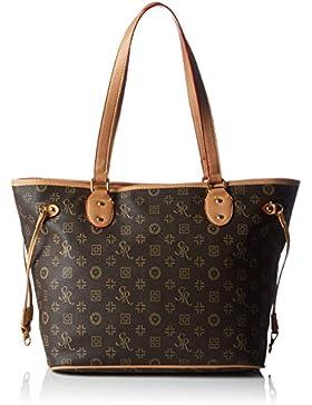 #1037 GOGO Damen Handtasche Beuteltasche Kunstleder Damentasche Tasche Braun