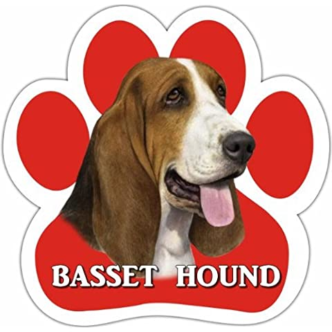 Basset Hound Car Magnet With Unique Paw Shaped Design Measures 5.2 by 5.2 Inches Covered In High Quality UV Gloss For Weather Protection by E&S Pets
