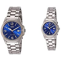 Casio His & Her Blue Dial Stainless Steel Band Couple Watch [MTP/LTP-1215A-2A]