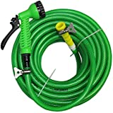 "TechnoCrafts PVC Braided Hose For Floor Care 30 Meter (100 Feet) 1/2"" (0.5 Inch Or 12.5mm) Bore Size - 3 Layered Hose Pipe With 7 Function Spray Gun, 1/2"" Tap Connector & 2 Butterfly Clamps"