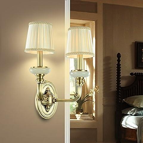 BBSLT Creativa tela cobre continental americano retro pared lámpara pared lámpara lámpara de noche LED dormitorios salón balcón 330 *