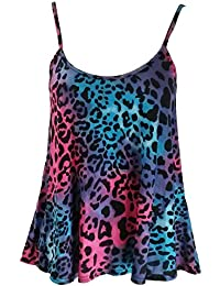 Home of Fashion Womens Neon Pink and Blue Leopard Print Camisole Vest Top