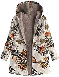 VJGOAL Para Mujer de Invierno más el tamaño de la Moda Casual Warm Thicken Outwear Estampado