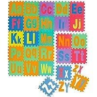 Tappeto Puzzle per Bambini | in Soffice Schiuma EVA | Tappetino Gioco per la Cameretta | con Lettere dell´Alfabeto Maiuscole e Minuscole da Ordinare