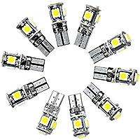 Neuftech 10PCS Lampes Ampoule Phare LED Veilleuse Canbus Sans Erreur W5W T10 5050 5-SMD LED Blanc