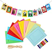 Paper Photo Frame Set with Wooden Clip and String 10PCS/ 1 Set Wall Photo Frame Hanging Picture Album Party Ho