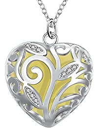 Peora Glow-in-The-Dark Heart of Winter Frozen Forest Natural Concept Silver Plated Pendant for Women