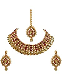 5ad0167c3dc21 Urbanela Party Wear Crystal Choker Traditional Jewellery Necklace Set with  Maang Tikka Earrings for Women