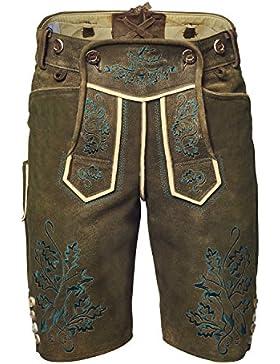 GaudiHerz Lederhose in braun und grünem Stick - Die Lederhosn ist eine Designer-Tracht mit Wildbock-Leder in Top-Qualität...