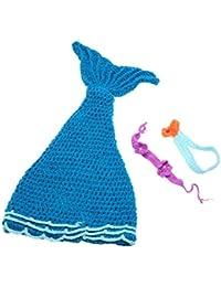 Andoer Baby-Kind Mermaid Mazarine Crochet Knitting Kostüm Weiche entzückende Kleider Foto Fotografie Props für 0-6 Monate Neugeborene