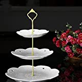 Gold : 3 Tier Hardware Crown Cake Plate Stand Cupcake Dessert Display Stand Handle for Wedding Party Table Decor (Gold)