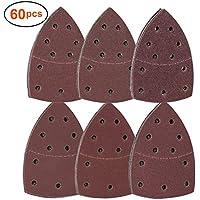 Papeles de Lija,Juego de hojas de lija de 60 piezas,Hojas de papel de lija para Mouse de 11 agujeros, Almohadillas de Molienda Triangulares para lijadora múltiple