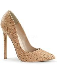 Pleaser - Zapatos de vestir de Material Sintético para mujer Beige beige 45