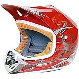 Casco Moto Cross Infantil para Niños L 55-56cm, Rojo