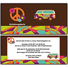 Einladungskarten Retro Hippie Geburtstag Geburtstagseinladung Flower Power  70 Stück