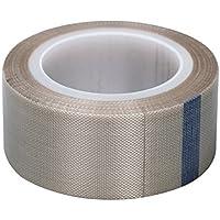 Cinta de fibra de vidrio de alta temperatura con revestimiento de PTFE y gamuza adhesiva de silicona, selladora de superficies calientes con liberación de calor, rollo de 10 m x 25 mm de ancho