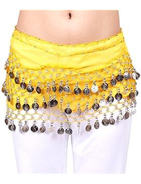 HOTER–& reg Dangling monedas de plata de gasa danza del vientre cadera bufanda, estilo de Vogue