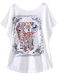 YICHUN Femme Tops T-Shirt de Loisir Manche de Chauve-souris Tee-shirt Eléphant Vintage Blouse Tunique