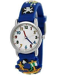 Pure Time® Kinder-Uhr Mädchen-Uhr für Kinder Jungen-Uhr Silikon-Kautschuk Armband-Uhr Uhr mit 3d Piraten Motiv Dunkel-Blau
