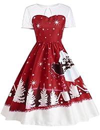 Koly Mujer Ocasional Vestidos de la Camiseta Mangas cortas Vendimia Navidad O-cuello Impreso Corto