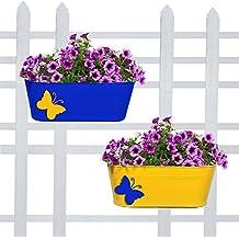 Trust basket Butterfly Oval Balcony Railing Planter - (TBSSS215,Blue & Yellow)-Set of 2