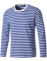 sourcingmap Uomini Girocollo Manica Lunga Stripe-Patterned T-Shirt Navy  Grigio L c72b091a1143
