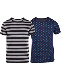 VIMAL Overall Print Navy And Black Striped Printed Tshirts For Men(Pack Of 2)