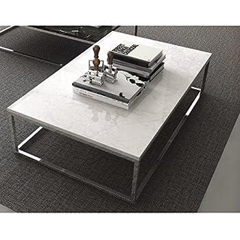 TemaHome Prairie Table Basse rectangulaire en marbre Blanc piétement métal chromé