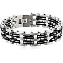 Ostan - 316L acciaio inossidabile metallo bracciale da uomo, argento e nero - nuovo gioielli moda