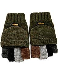 TININNA Gants Homme Hiver Thermique Chauds Tricoté en Laine Demi-doigts Moufles avec Mitaines Couverture