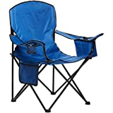 AmazonBasics Foldable Camping Chair with Carrying Bag, Blue (Padded) - XL
