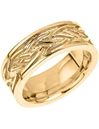 Little Treasures - 10 ct Solid Yellow Gold Celtic Knot Unisex Wedding Band