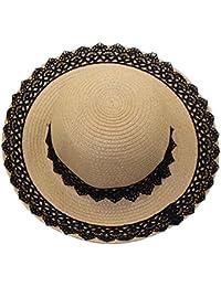 Leisial Sombreros de Paja con Flores de Encaje Gorro Sol al Aire Libre  Playa Gran Sombrero 4476e27a3a17