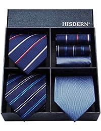 HISDERN Lot 3 PCS Cravate Homme Verifier Polka Dot Stripe Solid Color Mouchoir de mariage Cravate & Pochette - Plusieurs ensembles