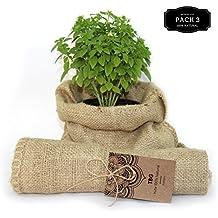 Saco de Yute 100% Natural - Pack 3 Bolsas Ecológicas. Ideal para Decoración de Cocina, Jardín, Huerto Urbano y Fiestas Vintage. Bolso Ecológico para Verduras, Organizador Rústico (26x48cm)