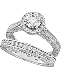 Ladies Ring-Round Cut Halo Design 2 piece 925 Sterling Silver Luxury Affordable Wedding Engagement Bridal Ring Set