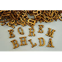 250 + PLAIN tamaño pequeño de madera letras y cifras adhesivo letras en ...