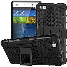 MoKo Huawei P8 Lite Funda - Heavy Duty Rugged Dual Layer Armor with Kickstand Protective Cover para Huawei Mate P8 Lite 5 inch Smartphone, Negro