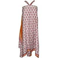Mogul Interior Womens Magic Wrap Skirt Printed Premium Silk Sari Beach Reversible Skirts