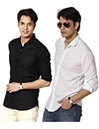 Combo Of Plain Black And White Casual Shirt 100% Cotton Shirt For Summers