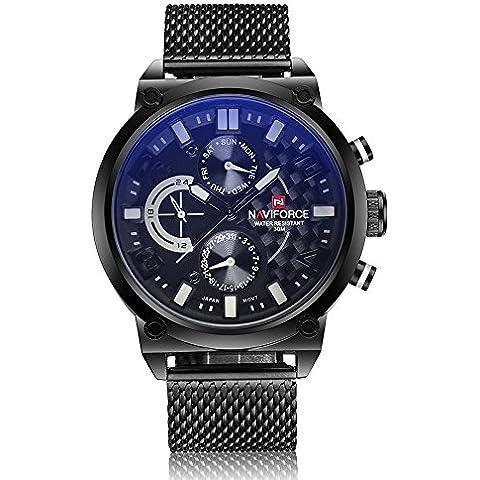 vear vear–Orologio da uomo completamente in acciaio 24ore Data impermeabile militare orologio da polso al quarzo, Uomo, White, Taglia unica