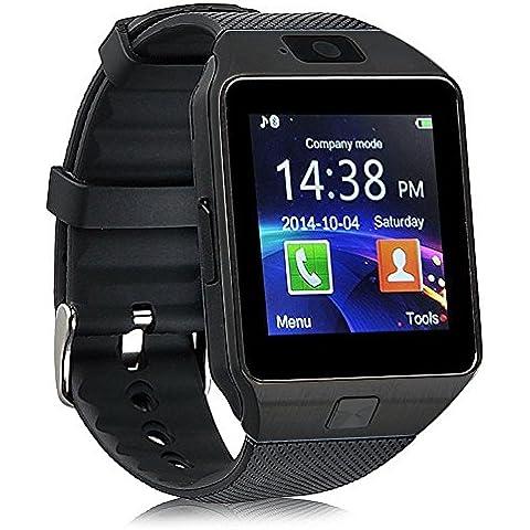 YinoSino DZ09 Smart Watch / Reloj inteligente DZ09 (disponible en español) / Reloj Bluetooth / Reloj Android / Reloj para la salud con pantalla táctil y cámara, Tarjeta Sim y puerto para tarjeta TF, batería de larga duración en tiempo de espera para teléfonos smartphone Android y los dispositivos IOS de iPhone (Negro)