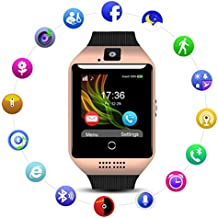 Smart Watch QIMAOO Q18 Reloj inteligente Bluetooth 3.0 HD Pantalla Análisis de Sueño, Podómetro, Fitness tracker con cámara TF / SIM ranura para tarjeta para hombres mujeres (Oro)