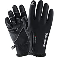 LeKing Guanti Invernali Caldi Touch Screen Full Finger Antivento Guanti  addensati in Pelle Resistente all  b66ad7c07e99