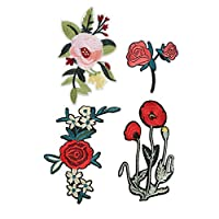 Rose Patch,Embroidered Flower Sew-on Applique Decoration Patch for Decorate Small Defects in Clothing, Cloth Bags, Curtains and Other Textile Surfaces(8cm+15cm)
