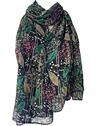 Purple Possum Blue Floral Scarf Ladies Pink Green Navy Blue Flowers Wrap Flower Shawl