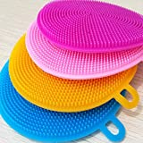 Maharsh Silicone Washing Sponge Antibacterial Silicone Dish Scrubber Fruit and Vegetable Washing Brush Round Scrubber Pad Multipurpose Silicone Dishwashing Tools for Kitchen(2 psc)