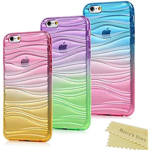 3x iPhone 6 Plus,6s Plus Funda Silicona de Gel TPU Case Suave - Mavis's Diary Funda para móvil iPhone 6 Plus/6s Plus 5,5 pulgadas Carcasa Resistente a los Arañazos Color de Azul + Rose Red,Púrpura + verde,Rose Red +